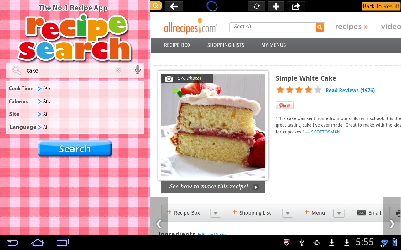 Recipe Search for Tab - screenshot