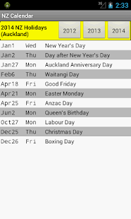 NZ Holiday Calendar 2014 - screenshot thumbnail