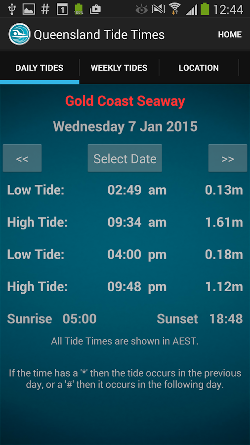 Queensland Tide Times- screenshot