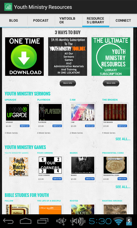 Youth Ministry Resources- screenshot