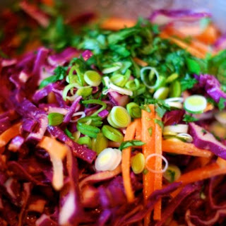 Red Cabbage Slaw with Tangy Carrot Ginger Dressing.