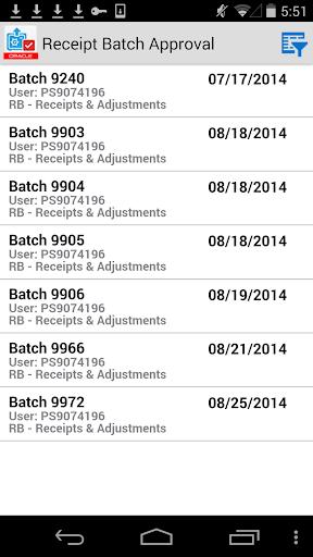 Receipt Batch Appr for JDE E1
