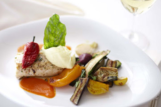 Culinary-Experiences-Grilled-Chicken-with-Vegetables - Vegetables are certainly not boring when prepared by a culinary expert aboard Crystal Serenity.