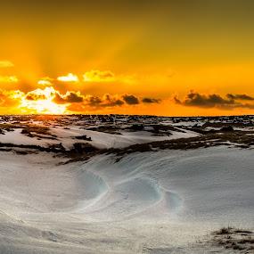 Old Fires by Kaspars Dzenis - Landscapes Sunsets & Sunrises ( iceland, red, winter, nature, budir, sunset, snow, lava field, landscape, fire, sun )