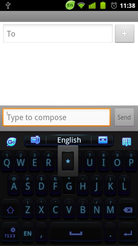 GO Keyboard Black Blue 2014 - screenshot