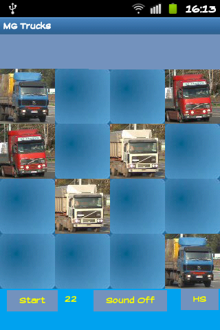 Trucks memory game - screenshot