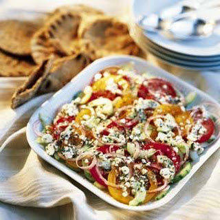 Tomato, Cucumber and Onion Salad with Feta Vinaigrette.
