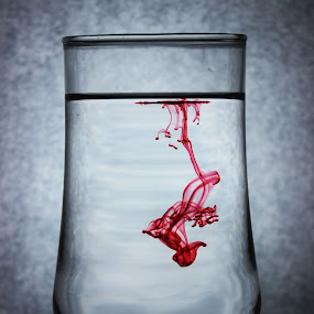 Virus by Abdul Rauf Chaudhry - Artistic Objects Other Objects ( red ink diffusion glass pakistan chaudhry )
