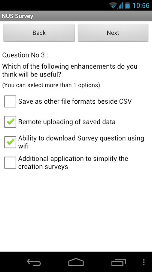 NUS Survey - screenshot