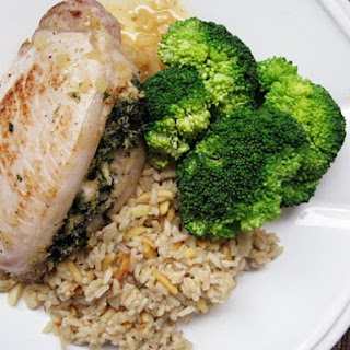 Spinach and Goat Cheese Stuffed Pork Chops.