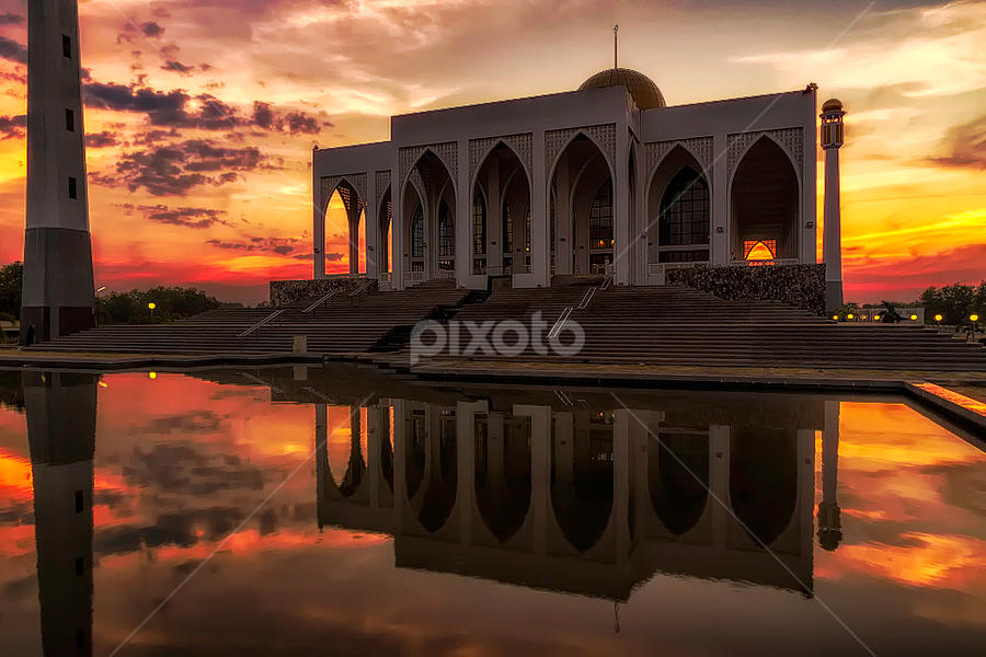 Masjid Central Mosque by Mark Anthony Bansag - Buildings & Architecture Other Exteriors ( Lighting, moods, mood lighting,  )