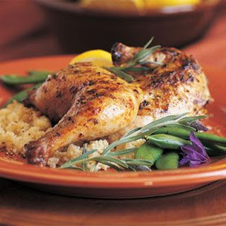 Grilled Cornish Hens with Lavender Honey Grilling Sauce.