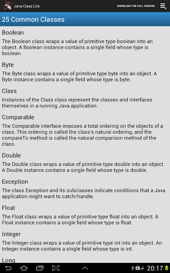 Java Class Lite - screenshot
