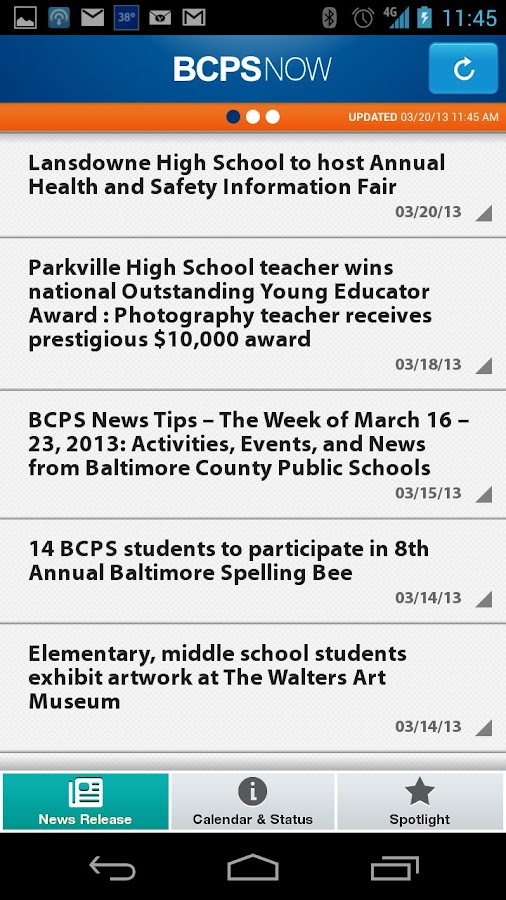 BCPS Now - screenshot