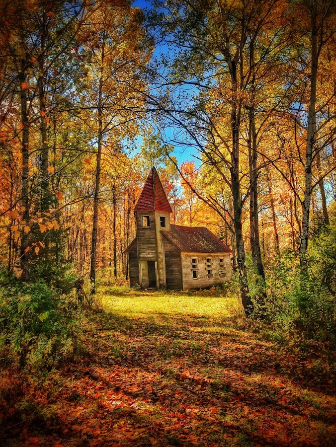 Fall From Grace by Nathan Porath - Buildings & Architecture Places of Worship ( wisconsin, iphoneography, hdr, fall colors, church, fall, iphone, abandoned, , color, colorful, nature, path, landscape )