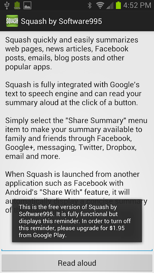 Squash -Text Summarization App- screenshot