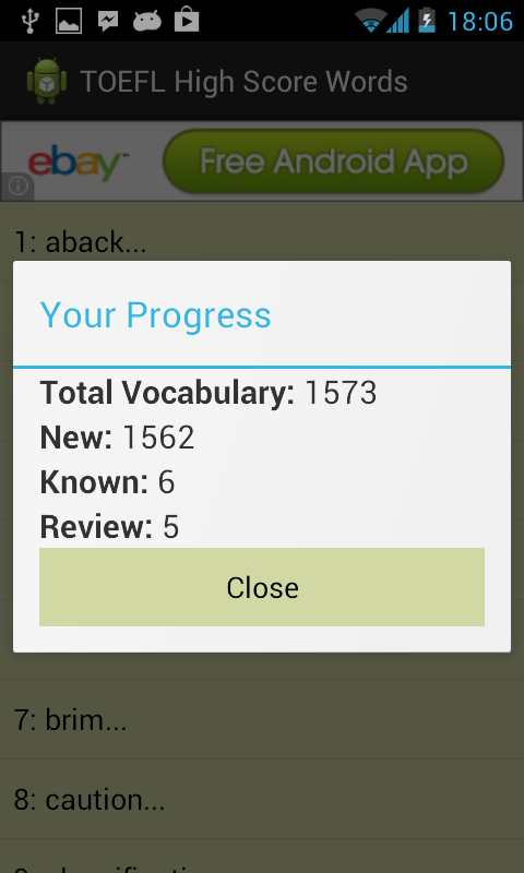TOEFL High Score Words - screenshot