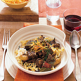 Stout and Beef Stew Served Over Egg Noodles.