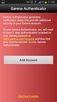 Screenshot of Garena Authenticator
