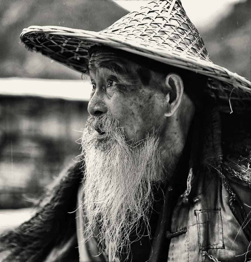 Yangshuo oldest fisherman by Dharmali Kusumadi - People Portraits of Men (  )