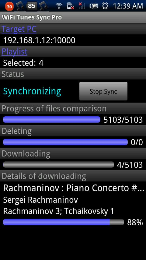 WiFi Tunes Sync Pro- screenshot