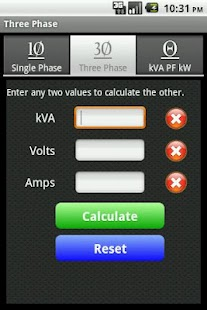 kVA Calculator Screenshot