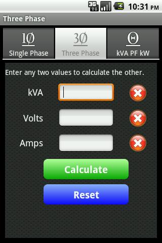 kVA Calculator - screenshot