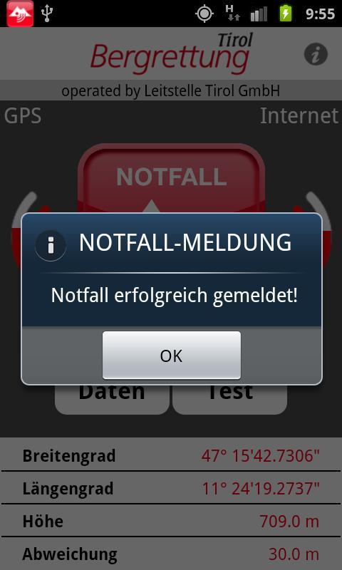 Notfall App Bergrettung Tirol- screenshot
