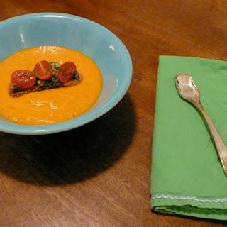 Cherry Tomato & Basil Croutons atop Creamy Heirloom Tomato Soup