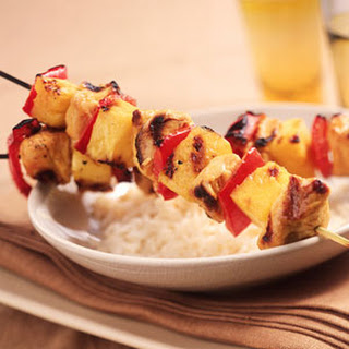 Skewered Singapore Chicken and Pineapple.
