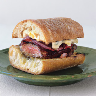 Grilled Skirt Steak and Pepper Sandwiches with Corn Mayonnaise.