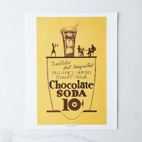 Vintage Menu Print: Skillern's Chocolate Soda, Texas