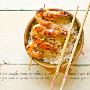 Oriental Rice with Shrimp Kebabs