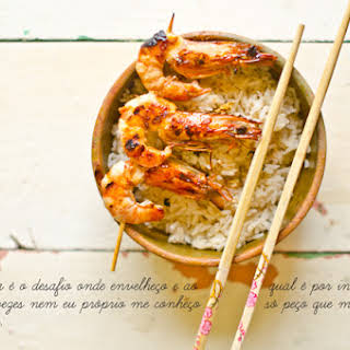 Oriental Rice with Shrimp Kebabs.