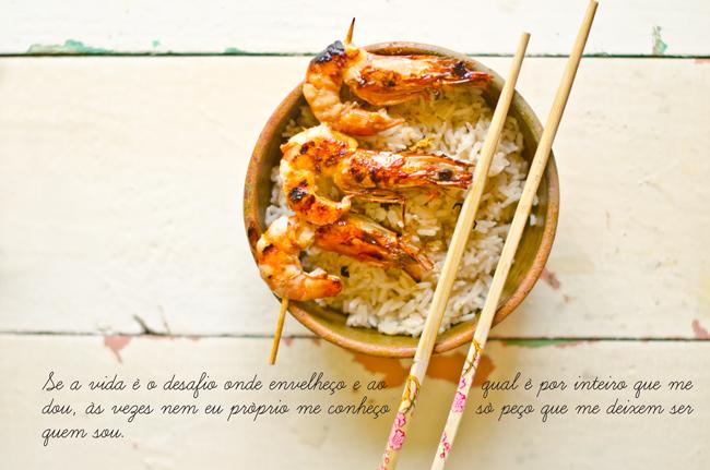 Oriental Rice with Shrimp Kebabs Recipe