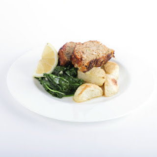 Turkey Meatloaf with Roasted Potatoes and Spinach.
