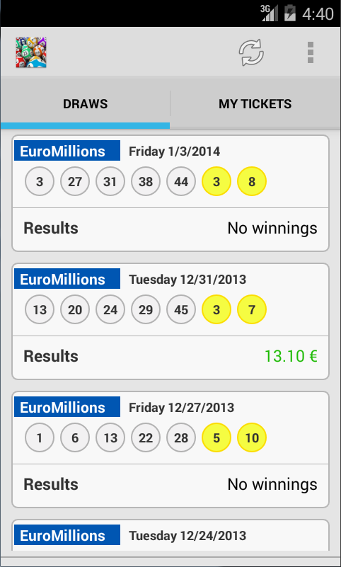 Screenshots of Result for EuroMillions Lotto for iPhone