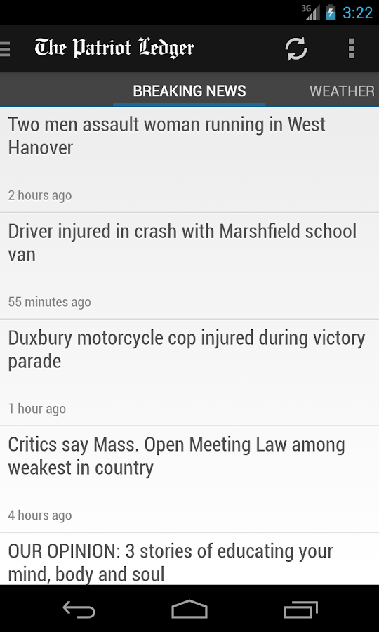 Patriot Ledger, Quincy, MA - screenshot