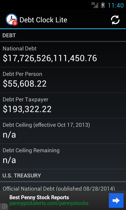 Debt Clock Lite- screenshot