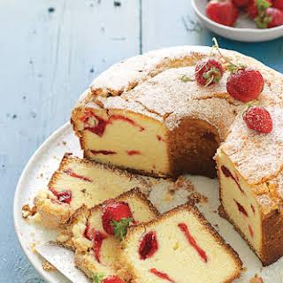 Strawberry Swirl Cream Cheese Pound Cake.