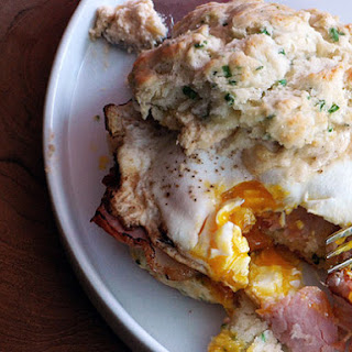 Chive Biscuit Sandwich with Cheddar Spread, Canadian Bacon, and a Fried Egg.