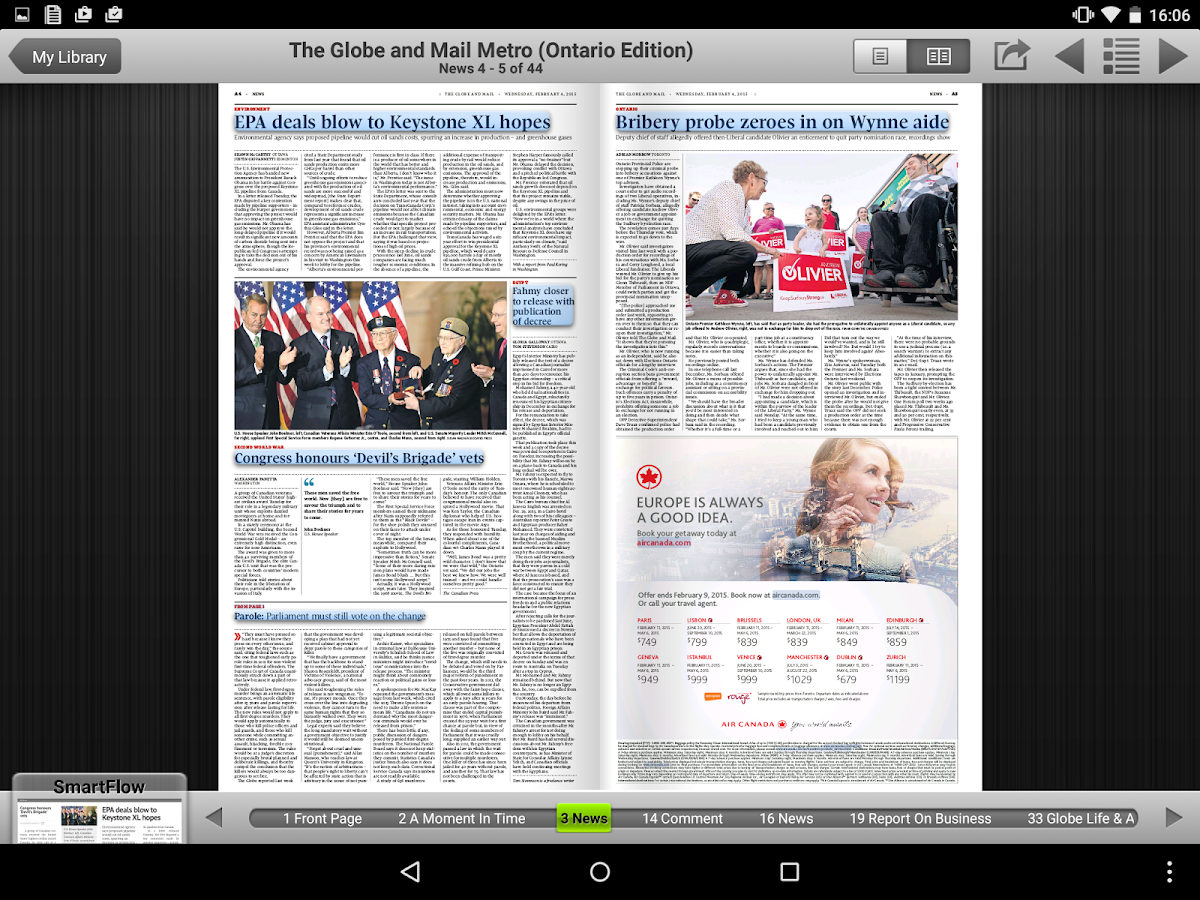 The Globe and Mail's Globe2Go - screenshot