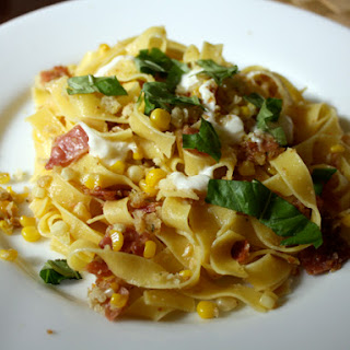 Pasta with Corn, Prosciutto, and Burrata