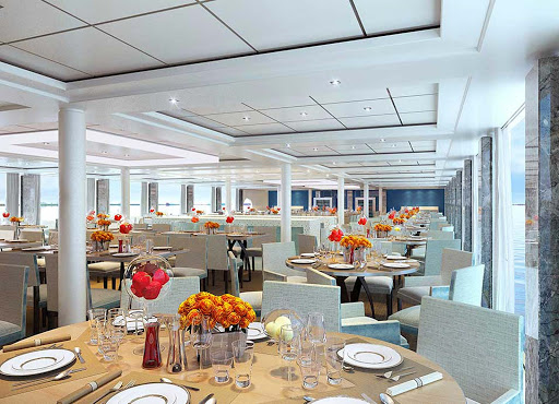 Viking-Longship-Restaurant-3 - Enjoy contemporary cusine in a light-filled setting as you take in Europe's breathtaking views aboard a Viking River cruise ship.
