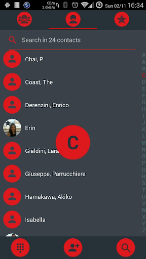 Dialer theme Droid L Red for PC