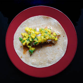 Grilled Mango and Shrimp Tacos.