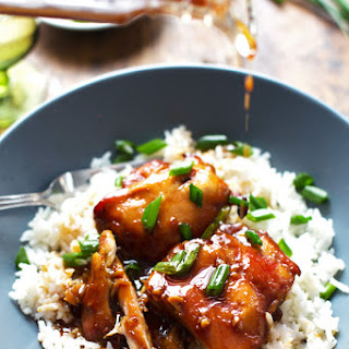 Sticky Bourbon Chicken with Rice.