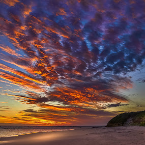 Fiery sky by Keith Walmsley - Landscapes Sunsets & Sunrises ( water, clouds, orange, red, nature, blue, sunset, natural )
