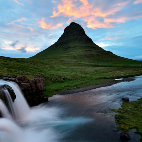 Mountain Kirkjufell and waterfall Kirkjufellsfoss by Silva Predalič - Landscapes Waterscapes ( clouds, iceland, waterscape, sunset, waterfall, cloudscape, reflections, night, , Earth, Light, Landscapes, Views, relax, tranquil, relaxing, tranquility )