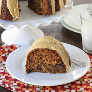 Peanut Butter Banana Bundt Cake with Reese's Peanut Butter Cups.